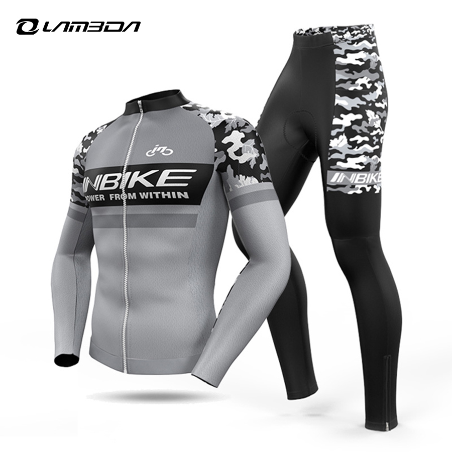 INBIKE Summer and autumn Cycling Jersey sets Mens long sleeve Mtb bike Bicycle Cycling Clothing Sports Wear veobike breathable long sleeve cycling sets spring autumn mtb bicycle cycling suits bike jersey shorts sets cycling clothing