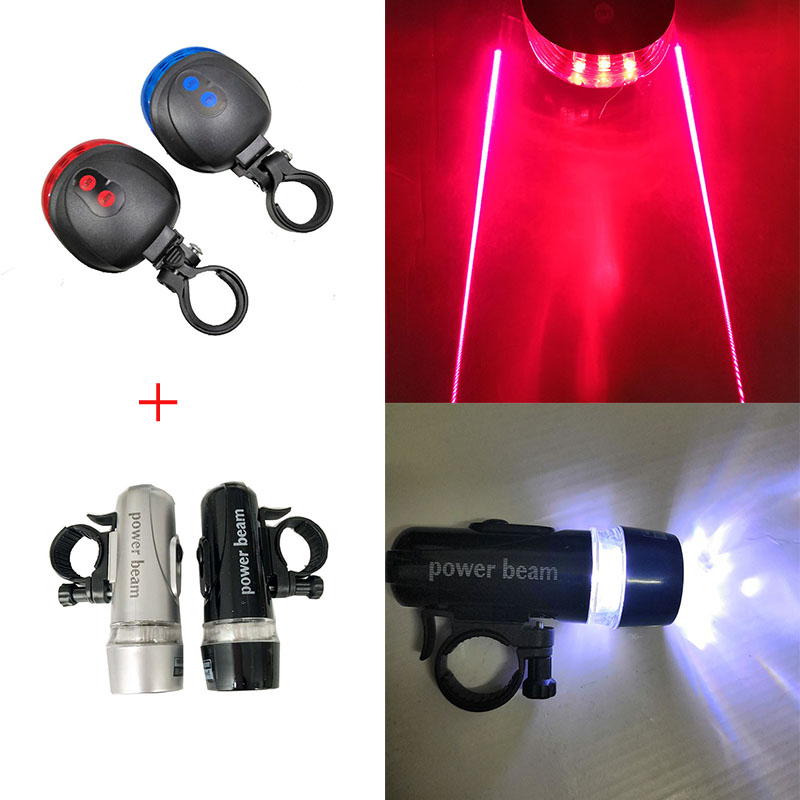 Cycling Bicycle Light 5LED Bike Front Lights + Bicycle Tail Light Set Safe Cycling Rear Lights Lamp Bike Accessories Taillight