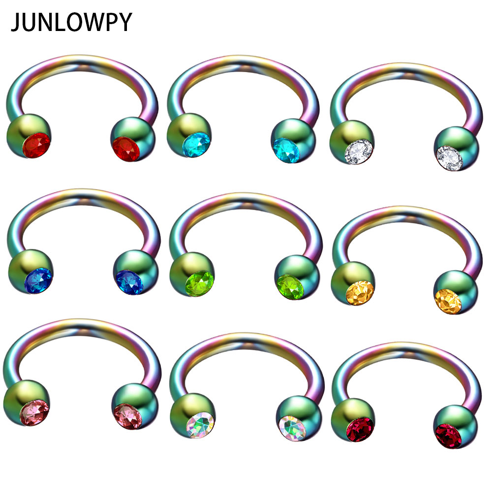 JUNLOWPY Rainbow Silver Black Gold Nose Rings Surgical Steel Horseshoe Ring Fashion Body Jewelry Ear Bar Piercing Earring 50pcs