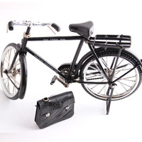 Black Metal Bicycle Model and mini lighter simulation Toy Gift decoration Model