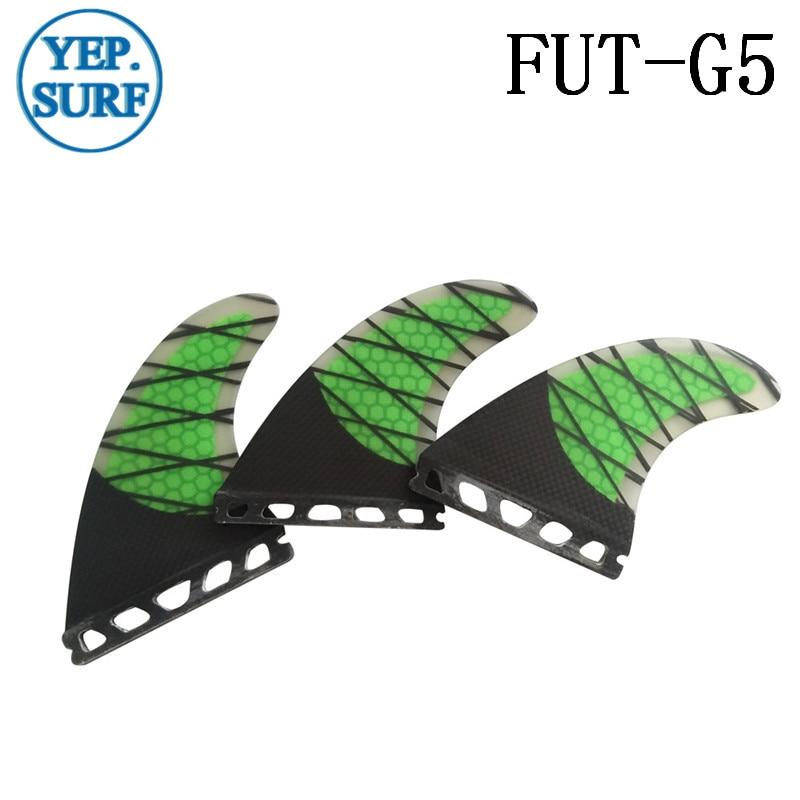 Fremtidig G5 Fin Carbon Fiber Fin Sort og grøn / orangeFin Surfing - Vandsport