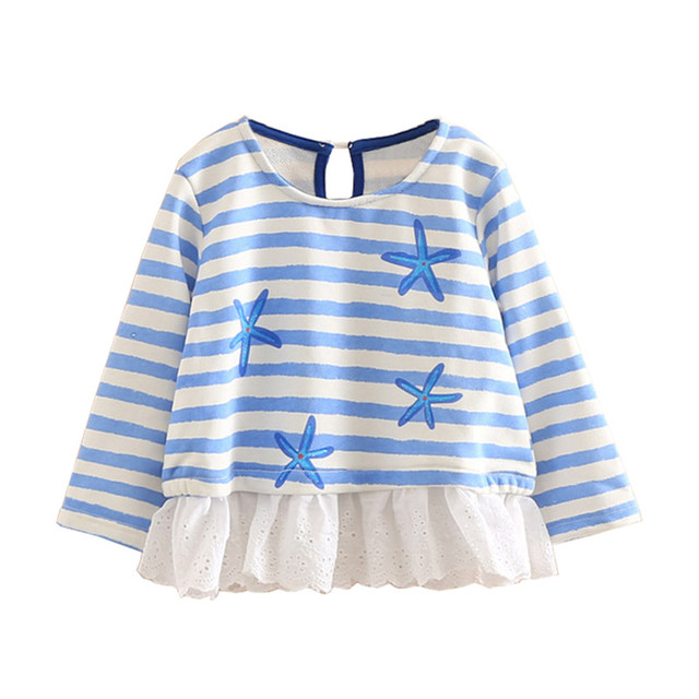 LittleSpring 2017 New  Spring Girls Striped Sweatshit Fashion Tulle Patchwork Long Sleeve Kids Girl Shirt Tops With Star Pattern