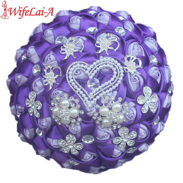 WifeLai-A Customizable Double Color Bridal Wedding Bouquets Pearls Crystal Silk Flowers Purple Color Bouquets de noiva W325