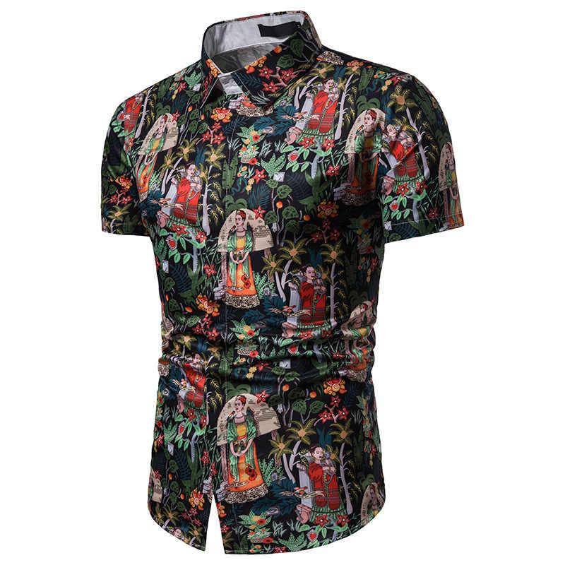 Винтаж Цветочная гавайская рубашка Для мужчин 2019 модный бренд короткий рукав мужская одежда рубашки уличная Мужская рубашка в стиле кэжуал Chemise Homme
