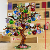 Crystal Apple Tree Ornaments 36pcs Hanging Apples Glass Fengshui Crafts Home Decor Figurines Christmas New