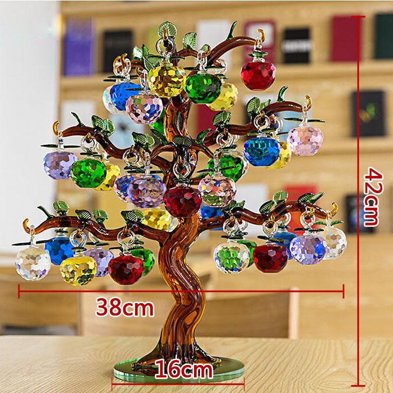 Crystal Apple Tree Ornaments 36pcs Hanging Apples Glass Fengshui Crafts Home Decor Figurines Christmas New Year Gift Souvenir