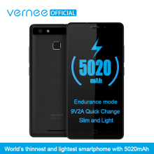 Vernee Thor E 5″ HD 4G LTE Mobile Phone MTK6753 Octa-Core Android 7.0 Cell Phones 3G RAM 16 G ROM 5020 mAh Fingerprint Smartphone