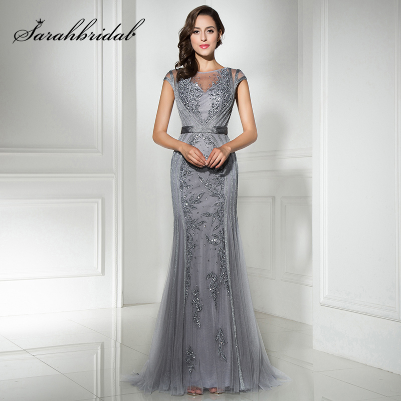 Fast Shipping in Stock Gray Long Mermaid Evening Dresses with Beaded  Sequined Tulle Cap Sleeve Plus 40e8c585bb0a