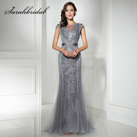Fast Shipping in Stock Gray Long Mermaid Evening Dresses with Beaded Sequined Tulle Cap Sleeve Plus Size Women Party Gowns LX296