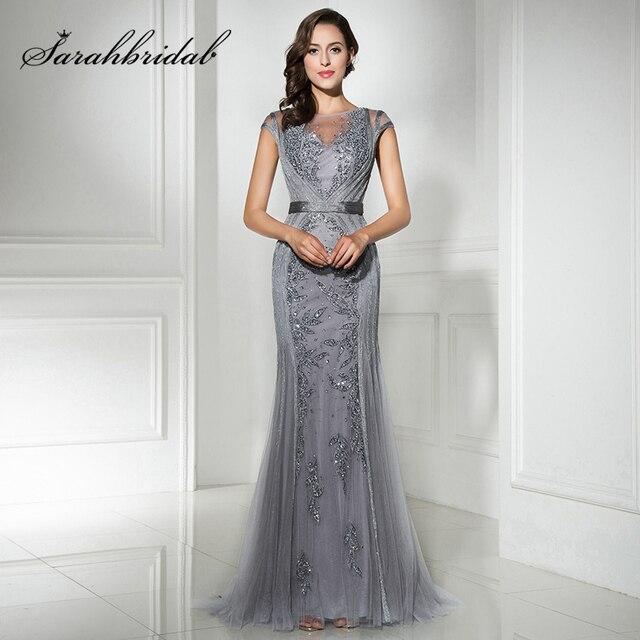20f213a45c2 Expédition rapide en Stock Gris Longue Sirène Robes de Soirée avec des  Perles Tulle Pailleté Manches ...