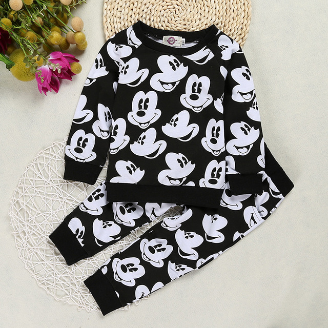3d0a44d0f41b8 Minnie Mouse Kids Boy Girl Clothes Sets Costume Mickey Baby Cartoon T  shirt+Trousers Outfit