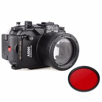 EACHSHOT 40m 130ft Waterproof Underwater Diving Camera Case For Sony A5000 16 50mm 67mm Red Filter