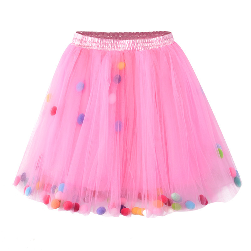Colorful Baby Girls Prom Skirts Kids Elastic Waist Pompon Pettiskirt Tulle Mini Princess Girl Skirt Children Clothing heather grey elastic waist jersey pencil skirt