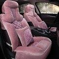 1 conjuntos 5 tampa De Assento moda Inverno suave e quente Automóveis de pelúcia assento de carro Tampas de Assento de lã cashmere quente de pelúcia cobrir