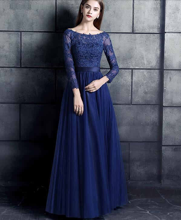 Royal Blue Lace Tulle Long Modest Bridesmaid Dresses 3 4 Sleeves Corset A-line  Floor Length Wedding Party Gowns Custom Made 0e7ffce8197f