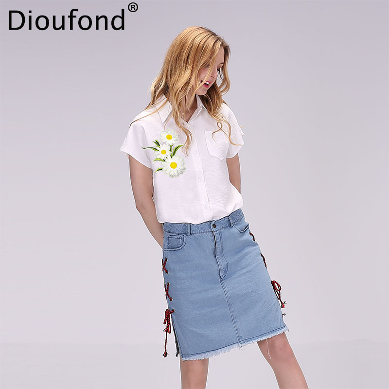 Dioufond Short Sleeve   Blouse   Summer Floral Appliques   Shirts   Women White   Blouse     Shirt   Turn-down Collar   Blouses   New Blusas 2017