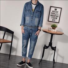 NEW Vintage Tooling One Piece Jeans Personality Water Wash Bodysuit Men Detachable Suspenders Trousers Jumpsuits Blue jeans