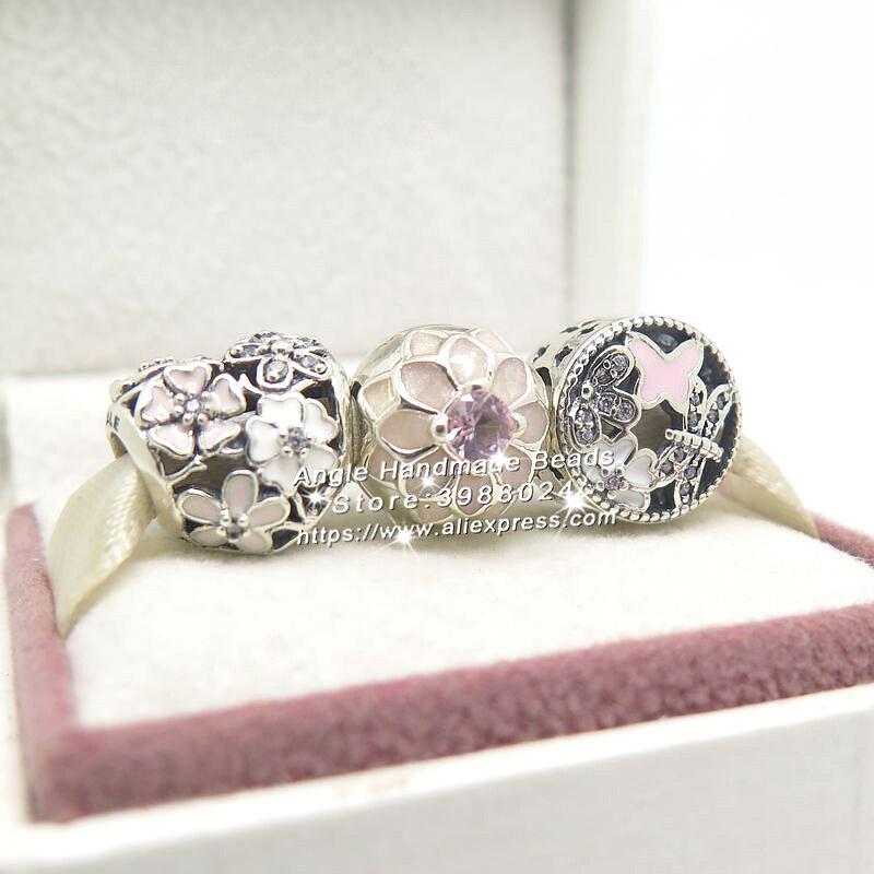3 pièces mode S925 argent printemps fleur émail Clip charmes perles ensemble de bijoux Fit bracelet à bricoler soi-même colliers bijoux faisant femme cadeau