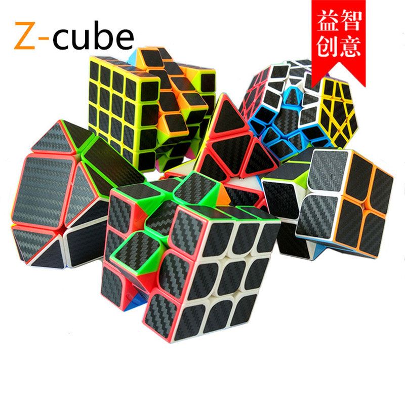ZCUBE 4 Kinds Carbon Fiber Sticker Speed Magic Cubes Puzzle Toy Children Kids Gift Toy Youth Adult Instruction