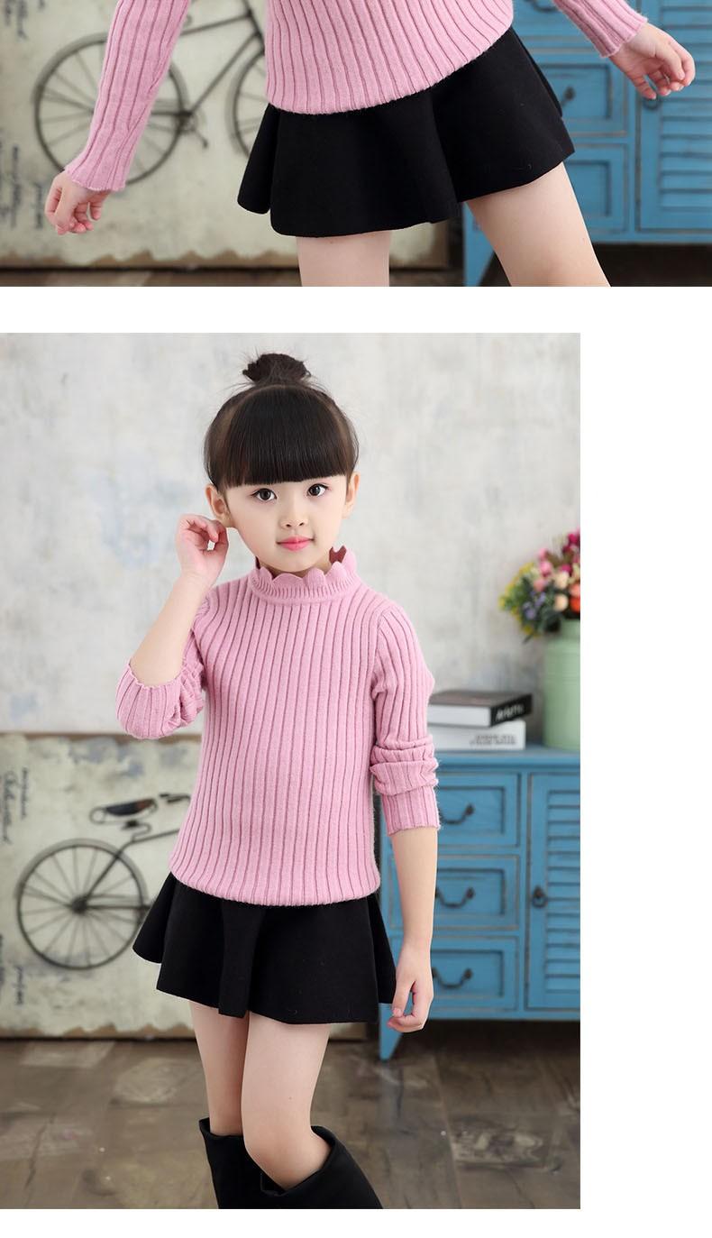 knitting big baby girls sweaters kids winter sweater 2016 long sleeve tops knitted kids sweaters girls pink green black kids top (8)