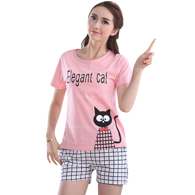New Summer Fashion Women s Cotton Pajamas Sets Young Ladies Sleepwear Female  Cute Pajama Sets Women Plus XXL Home Clothing e83f4f1dc