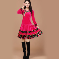 New winter clothing square dance dress warm velvet coat large size female dance costume 2016 Hot Sale New Ballroom Dance Dress
