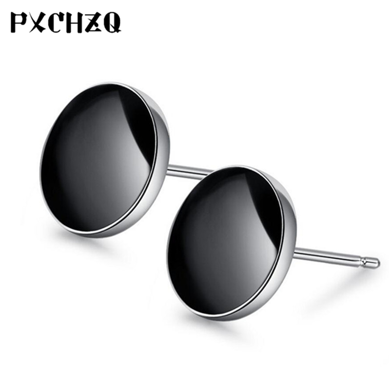 New female earrings fashion simple Korean black crystal silver color stud earrings men and women style jewelry