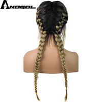 Anogol Pre Plucked Long Double Braids Black Brown Dark Roots Ombre Blonde Synthetic Braided Lace Front Wig With Baby Hair