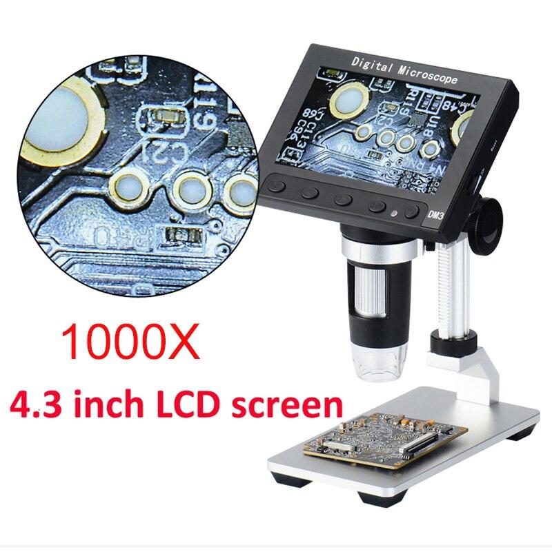 1000X USB microscope électronique lcd numérique vidéo microscope caméra 4.3 pouce HD OLED Endoscope loupe Caméra + LED lumières