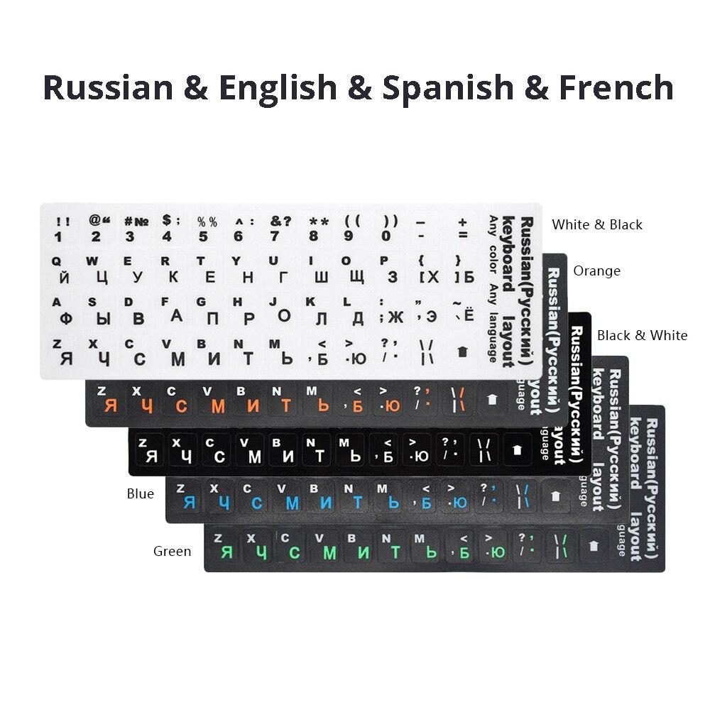 RU clavier autocollants lettre de couverture russe anglais espagnol Non Transparent universel remplacement clavier autocollants pour ordinateurs portables