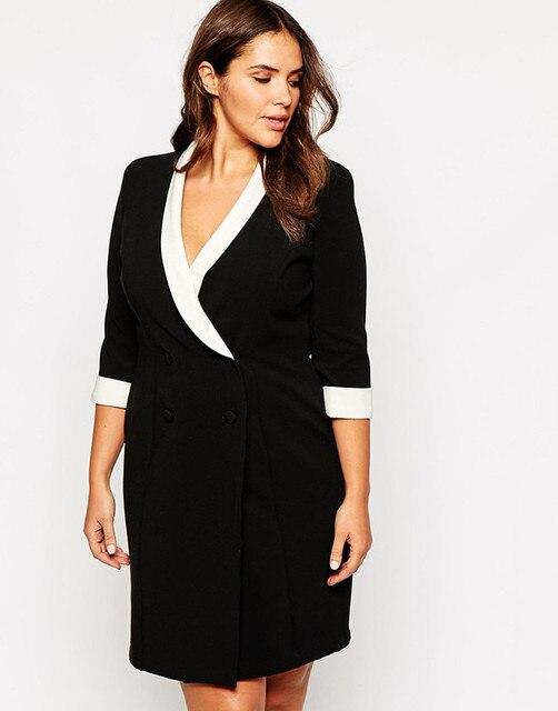 3XL-6XLPlus size business dress woman larger size office work dress fashion  formal midi dress with 4 buttons decoration 056 f1147318de5b