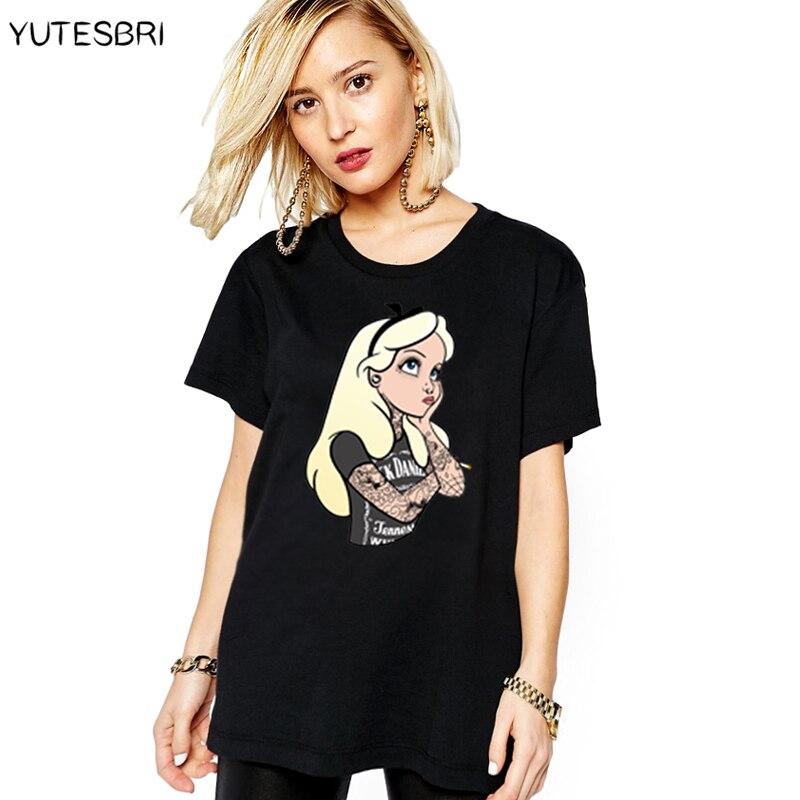 Donne Tshirt Biancaneve La Sirenetta Principessa Cattive Ragazze Alice Modello Printting Manica Corta In Cotone T Shirt top tees