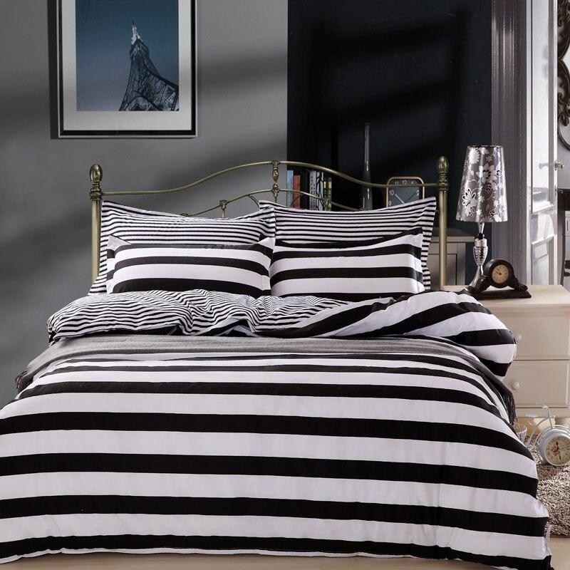 Black White Stripe Boy Girl Lovely 4pcs Bedding Set King Queen Double Size Duvet Cover 1.5m 1.8m 2.0m 2.2m Bed Sheet Bed Linens