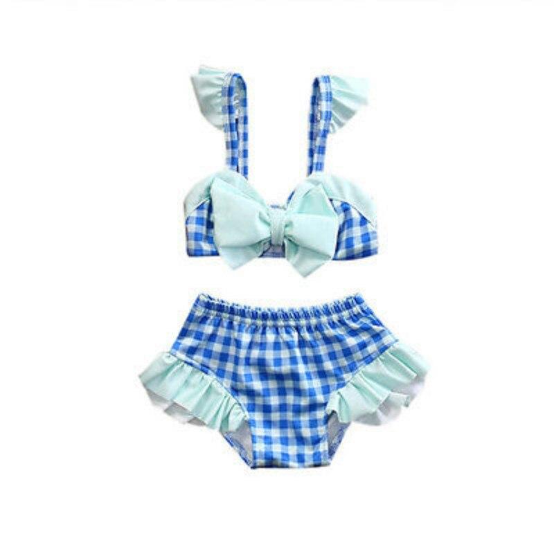 neonate bambini swimwears bambino neonato plaid bow top ruffles shorts pantaloni costume da bagno 2