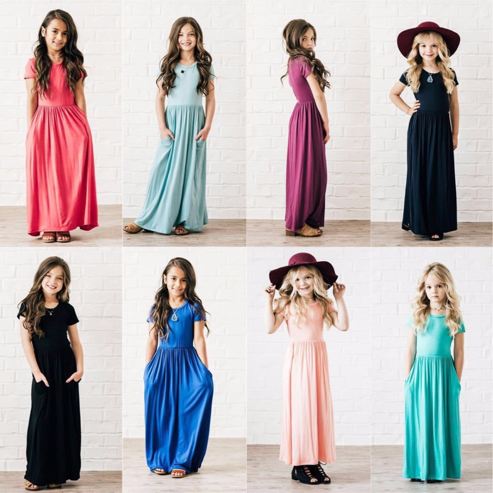 Maxi-Dresses Baby-Girls Short-Sleeve Party Kids 3-10-Years Beach For Spring Summer 8-Colors