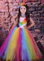 Candy Rainbow Birthday Tutu Dress Children Girls Spring Summer Dress Halloween Christmas Carnival Costume Photo Props