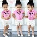 Малыша девушки одежда устанавливает новые моды bebe лето 2 шт. костюм с коротким рукавом блузка + кружева шорты детская одежда для девушки