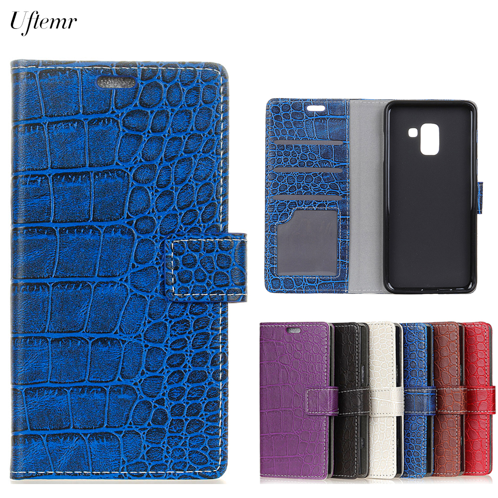 Uftemr Vintage Crocodile PU Leather Cover For Samsung Galaxy A7 2018 Protective Silicone Case Wallet Card Slot Phone Acessories