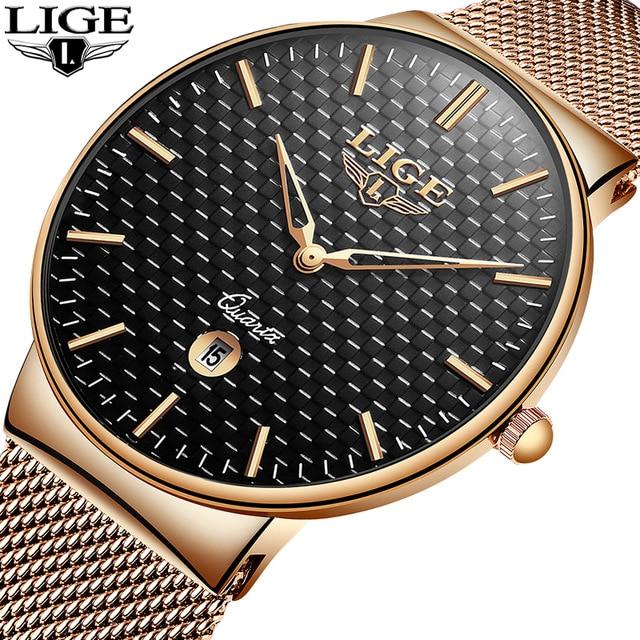 2019 LIGE New Men Watches Top Luxury Brand All Steel Slim Black Watch Men Casual Fashion Waterproof Clock Relogio masculino