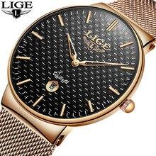 2019 LIGE новые мужские часы Топ люксовый бренд все стальные тонкие черные часы мужские повседневные Модные водостойкие часы Relogio masculino