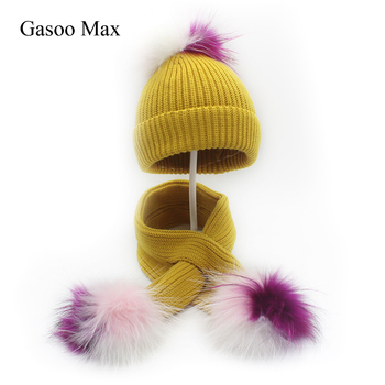 Fashion Child Hat Scarf Set Patchwork Pompoms Boy Girl Hats Beanies Scaves Sets Pom pom Beanie Real Fur Raccoon Pompom Hat Scarf
