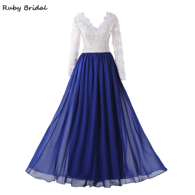 Ruby Bridal 2017 Hot Charming Long A-line Royal Blue Chiffon White Lace Top Evening  Dresses Long Sleeves Prom Party Gown R052410 ec8316c7f58c