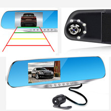 "DOXINGYE 4.3""Full HD 1080 Blue Review Mirror DVR Digital Recorder Car DVR Dual Lens Camera Driving recorder Night Vision"