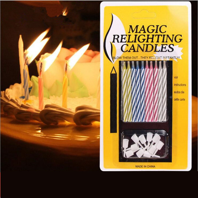 10pcs Set Magic Relighting Candles Cake Decor Birthday Candle Gift Craft For Birthdays DecoartionLighting Party