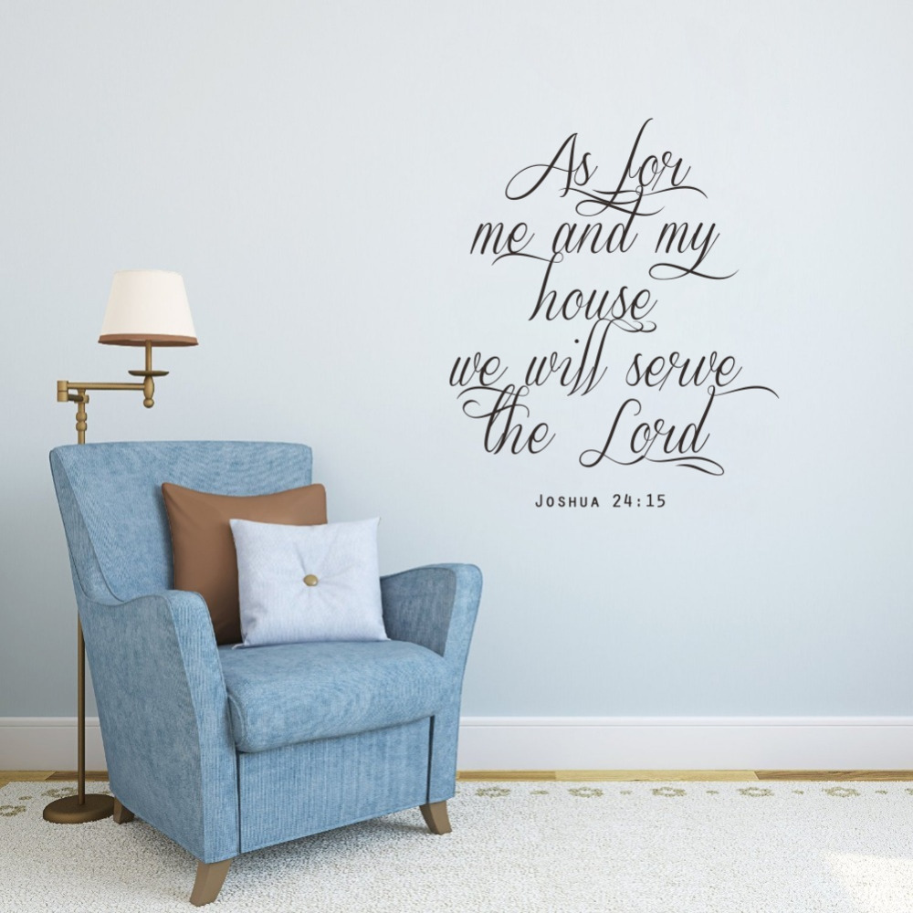 Christian Joshua Quotes Wall Stickers Som for meg og mitt hus, vil vi tjene Herren Art Lettering Vinyl Dekaler for Home Decor