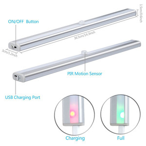 Image 2 - אלחוטי 20 LED USB נטענת לילה אור PIR Motion חיישן אור תחת ארון מלתחת ארון מטבח חיישן אור מנורה