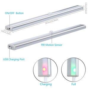 Image 2 - Беспроводной 20 светодиодный USB Перезаряжаемый Ночной светильник с ИК датчиком движения, светильник под шкафом, шкаф, кухонный датчик, светильник, лампа