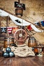 Laeacco Deck Do Navio de Pirata Tema Mapa de Navegação Backdrops Para Estúdio de Fotografia Fotografia Fundos Fotográficos Personalizados Do Bebê