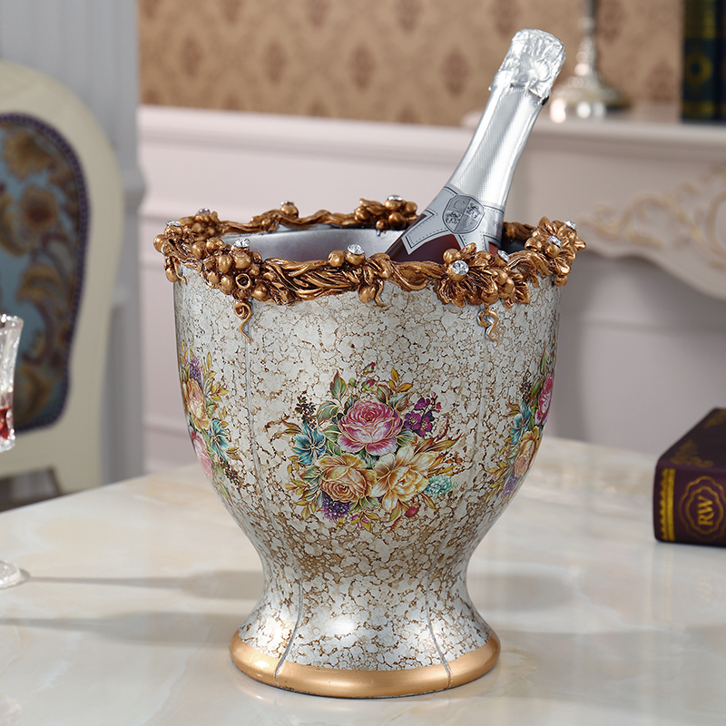 European ceramic jewelry Home Furnishing bar KTV champagne bucket Retro Red beer barrel with vase ornaments