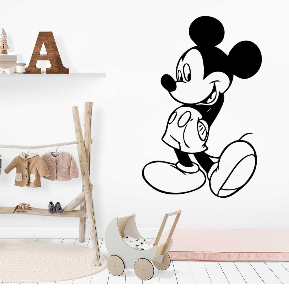 Dessin animé Mickey Mouse autocollants Art décalcomanie pour chambre d'enfants Mickey souris décalcomanie décor affiche autocollants minnie muursticker